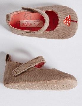Marks and Spencer Baby Cross Bar Riptape Pram Shoes