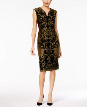 ECI Flocked-Pattern Sheath Dress