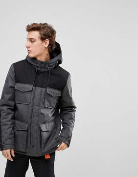 Element Hemlock Parka Jacket with Contrast Panels in Gray