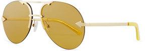 Karen Walker Love Hangover Semi-Rimless Aviator Sunglasses, Gold