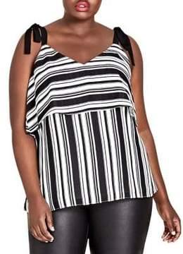 City Chic Plus Stripe it Lucky Tank Top