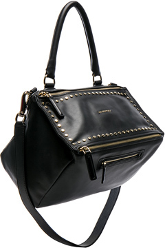 Givenchy Medium Smooth Leather Studded Pandora in Black.
