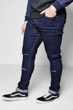 boohoo Big And Tall Skinny Fit Double Rip Knee Jeans