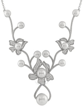 Bella Pearl Y-Shaped Sterling Silver Floral Necklace