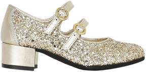 MonnaLisa Glittered Leather Mary Jane Shoes