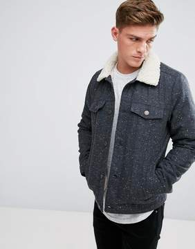 Hollister Sherpa Lined Trucker in Dark Gray