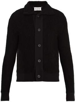 Maison Margiela Point-collar ribbed-knit cardigan
