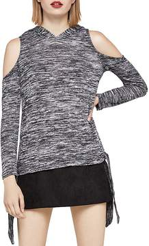 BCBGeneration Space-Dye Cold-Shoulder Hooded Top