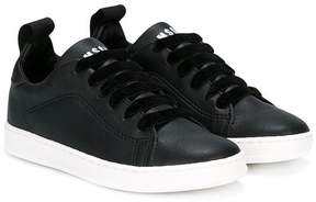 MSGM low top velvet lace-up sneakers