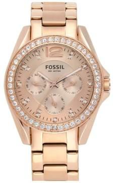 Fossil Women's 'Riley' Round Crystal Bezel Bracelet Watch, 38Mm