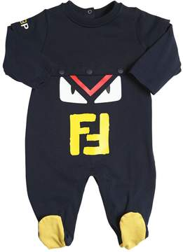Fendi Monster Printed Cotton Jersey Romper