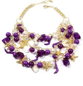 Amrita Singh Purple & Goldtone Kelia Bib Necklace
