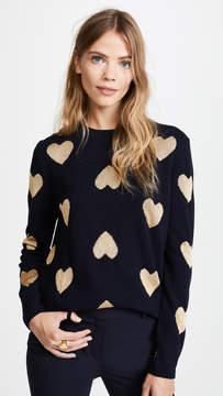 Chinti and Parker Metallic Knit Heart Sweater