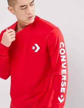 Converse Star Chevron Wordmark Long Sleeve Tee In Red 10006013-A06