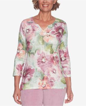 Alfred Dunner Winter Garden Embellished V-Neck Sweater