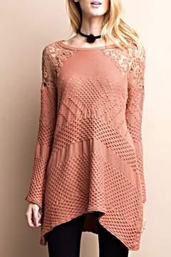 Easel Terracotta Crochet Sweater