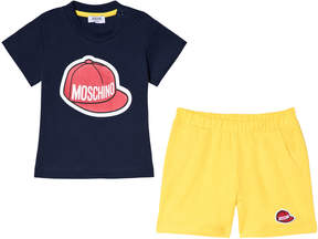 Moschino Navy Baseball Cap Logo Tee and Shorts Set