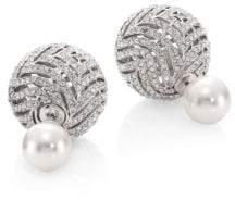 Adriana Orsini Faux Pearl & Crystal Stud Earrings