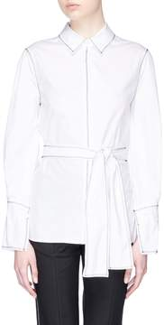 C/Meo Collective 'Confessions' zigzag topstitching belted poplin shirt