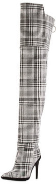 Off-White Tartan Plaid Over-the-Knee Boot