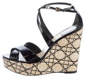 Christian Dior Patent Leather Wedge Sandals