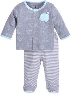 Petit Lem Gray Car Top & Gray Stripe Footie Set - Infant