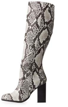 Charlotte Russe Bamboo Faux Snakeskin Knee-High Boots
