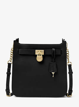 Michael Kors Hamilton Medium Leather Messenger - BLACK - STYLE