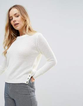 Brave Soul Sweater With Side Button Detail