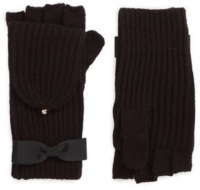 Kate Spade Women's Grosgrain Bow Convertible Knit Mittens