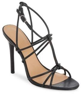 Halston Leather Ankle Buckle Stiletto Sandals
