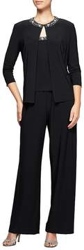 Alex Evenings 3-Piece Beaded Detail Pantsuit