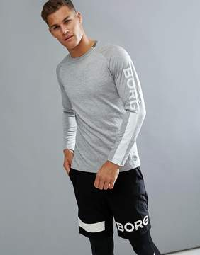 Bjorn Borg Performance Long Sleeve T-shirt In Regular Fit Gray