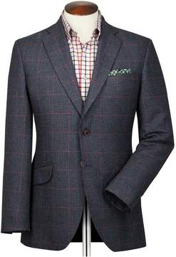 Charles Tyrwhitt Slim Fit Navy and Pink Checkered British Tweed Cotton/Cashmere Jacket Size 36