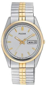 Pulsar Men's Day /Date Expansion Watch - Two Tone with Silver Dial - PXF308