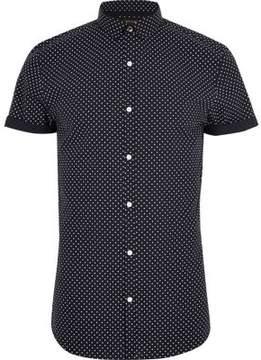 River Island Mens Navy polka dot short sleeve slim fit shirt