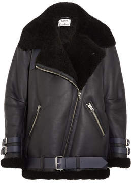 Acne Studios Velocite Leather-trimmed Shearling Jacket - Midnight blue