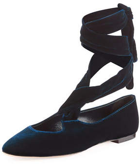 The Row Elodie Velvet Ankle-Wrap Flat