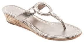 Bernardo Matrix Leather Wedge Thong Sandals