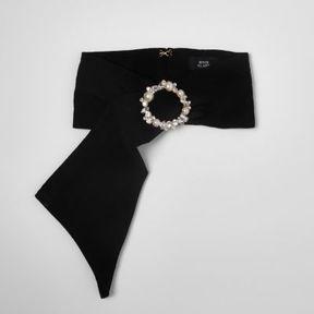 River Island Womens Black satin embellished buckle scarf
