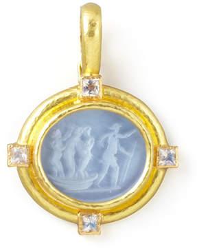 Elizabeth Locke Goddess on Boat Intaglio 19k Gold Pendant, Cerulean