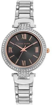Anne Klein Silvertone Pavé Lugs Black Dial Bracelet Watch