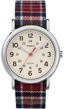 Timex Women's Weekender Red/Black Plaid Watch, Fabric Slip-Thru Strap