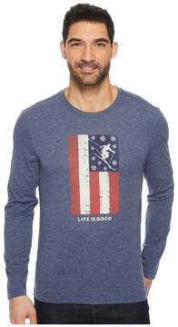 Life is Good Ski Flag Long Sleeve Cool Tee Men's Long Sleeve Pullover