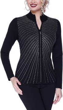 Belldini Black Line & Dot Zip-Up Top - Women