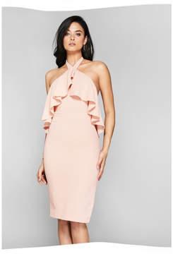 GUESS Ruffle Halter Dress