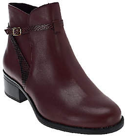 Isaac Mizrahi Live! Leather Ankle Boots withStrap Detail