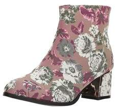 Qupid Women's Low Heeled Bootie With Heel Ornament Ankle Boot.