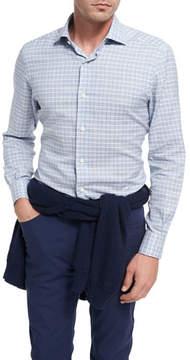 Ermenegildo Zegna Plaid Cotton Shirt, Light Blue/White