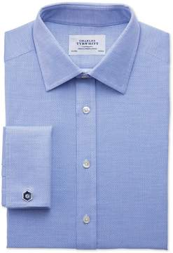 Charles Tyrwhitt Extra Slim Fit Egyptian Cotton Diamond Texture Mid Blue Dress Shirt French Cuff Size 15.5/35